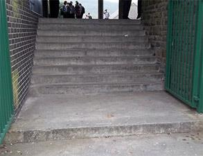 Deteriorated concrete step treads at a school