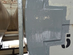 Plates bonded with Belzona 1212 and area coated